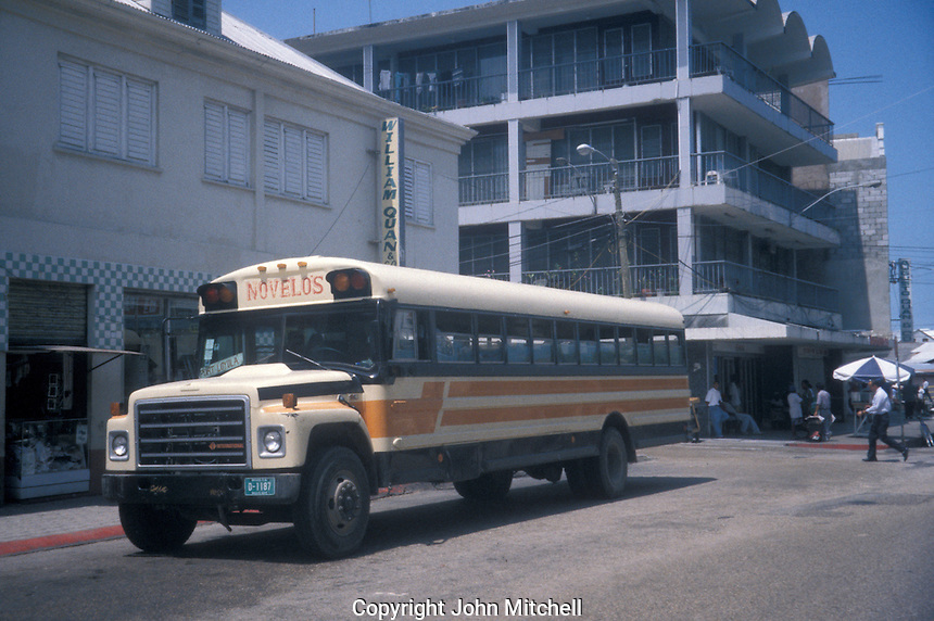 Novelos bus in downtown Belize City, Belize