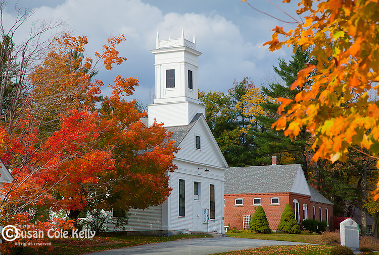Fall foliage on the town common of Temple, NH, USA
