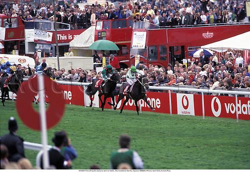 KIEREN FALLON pulls away to win on Oath, The Vodafone Derby, Epsom, 990605. Photo: Glyn Kirk/Action Plus....1999.flat  horse racing  equestrian sports.0204