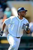 Detroit Tigers shortstop Omar Infante #4 during a Spring Training game against the Atlanta Braves at Joker Marchant Stadium on February 27, 2013 in Lakeland, Florida.  Atlanta defeated Detroit 5-3.  (Mike Janes/Four Seam Images)