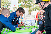 Picture by Allan McKenzie/SWpix.com - 24/09/2017 - Cycling - HSBC UK City Ride Liverpool - Albert Dock, Liverpool, England - Steven Burke signs autographs.