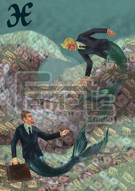 Pisces businessmen in the sea of wealth