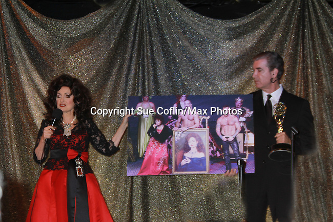 """Fred Cerulo (""""Dorian's bodyguard"""") and was a photographer at every Another World happenings is on stage with One Life To Live Robin Strasser at ICNY (Imperial Court of New York): Daytime Meets Nighttime Cabaret benefitting LifeBeat: Music Fights HIV and Jan Hus Neighborhood Church, two organizations giving back to the community at November 4, 2011 at the Jan Hus Playhouse Theatre, New York City, New York. (Photo by Sue Coflin/Max Photos)"""