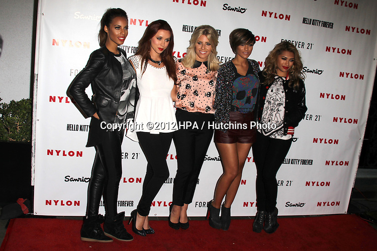 LOS ANGELES - OCT 15:  (L-R) Singers Rochelle Wiseman, Una Healy, Mollie King, Frankie Sandford and Vanessa White of The Saturdays arrives at  Nylon's October IT Issue party at London West Hollywood on October 15, 2012 in Los Angeles, CA