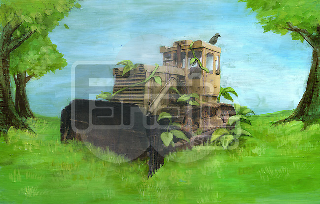 Illustration of damaged wheel loader on greenery representing go green concept
