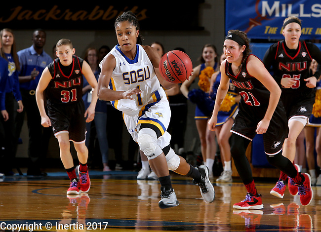 BROOKINGS, SD - MARCH 16:  Alexis Alexander #1 from South Dakota State University pushes the ball up court on a fast break against Northern Illinois during their first round WNIT game Thursday at Frost Arena in Brookings.(Photo by Dave Eggen/Inertia)