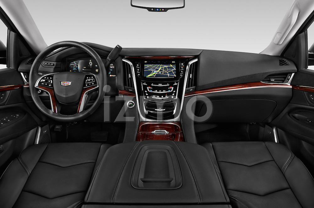 Stock photo of straight dashboard view of 2017 Cadillac Escalade Luxury 5 Door SUV Dashboard