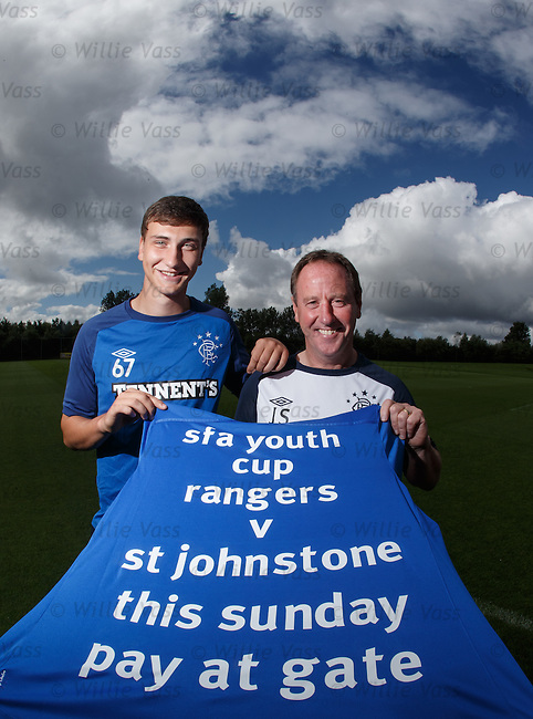 Luca Gasparotto and Jimmy Sinclair promote the Rangers v St Johnstone youth cup match on Sunday at Ibrox