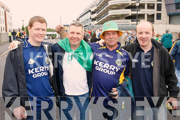 Kerry fans at the Kerry v Meath All-Ireland semi-final at Croke park on Sunday from left Thomas Canty, Pascal Buckly, Joe Canty and Patrick Lynch.