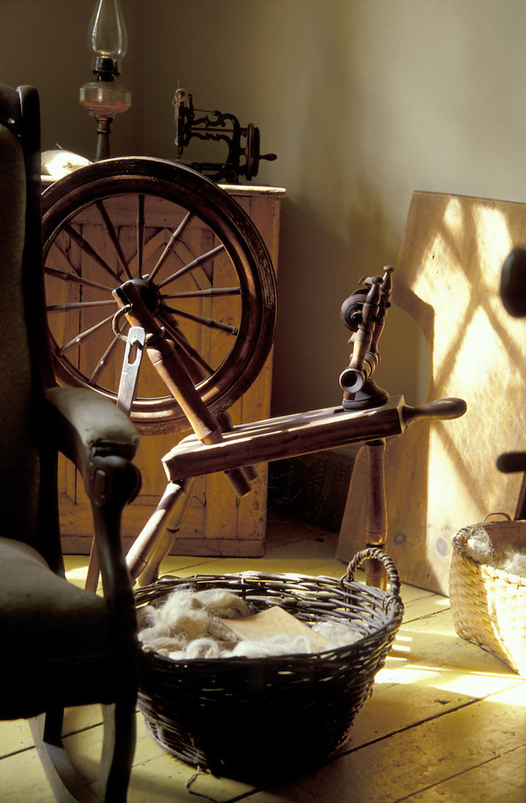 Spinning wheel and basket of wool, Beaconsfield House, Charlottetown, Prince Edward Island, Canada