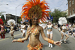 Vamola carnival dancers preform in the 21st annual Summer Solstice Parade held Saturday, June 20, 2009 in Seattle, Wa.The parade was held Saturday, bringing out painted and naked bicyclists, bands, belly dancers and floats. (Jim Bryant Photo © 2009)... .