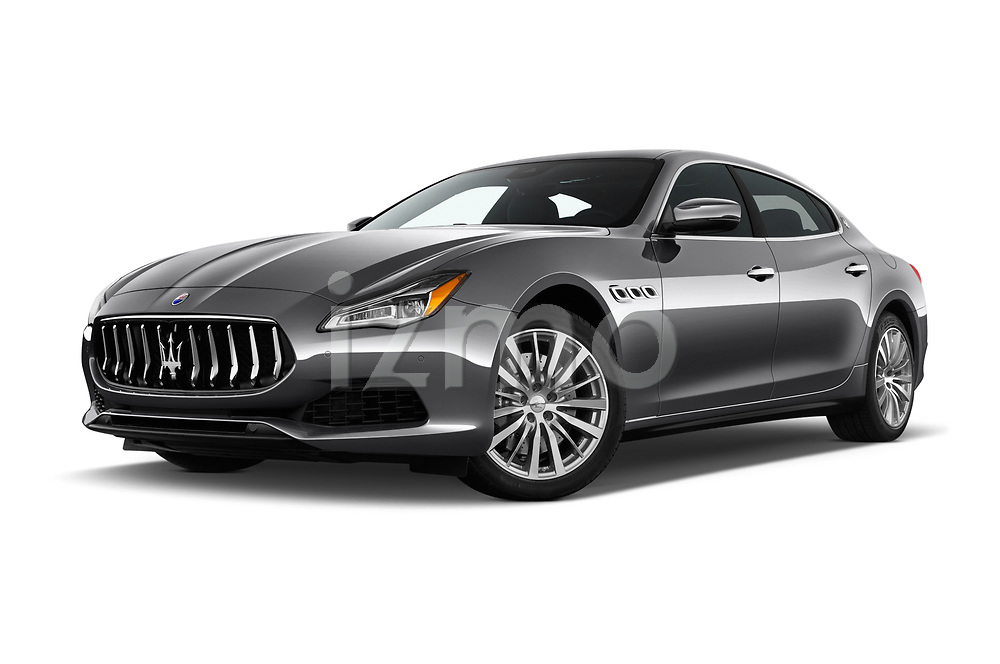 Stock pictures of low aggressive front three quarter view of a 2018 Maserati Quattroporte S 4 Door Sedan