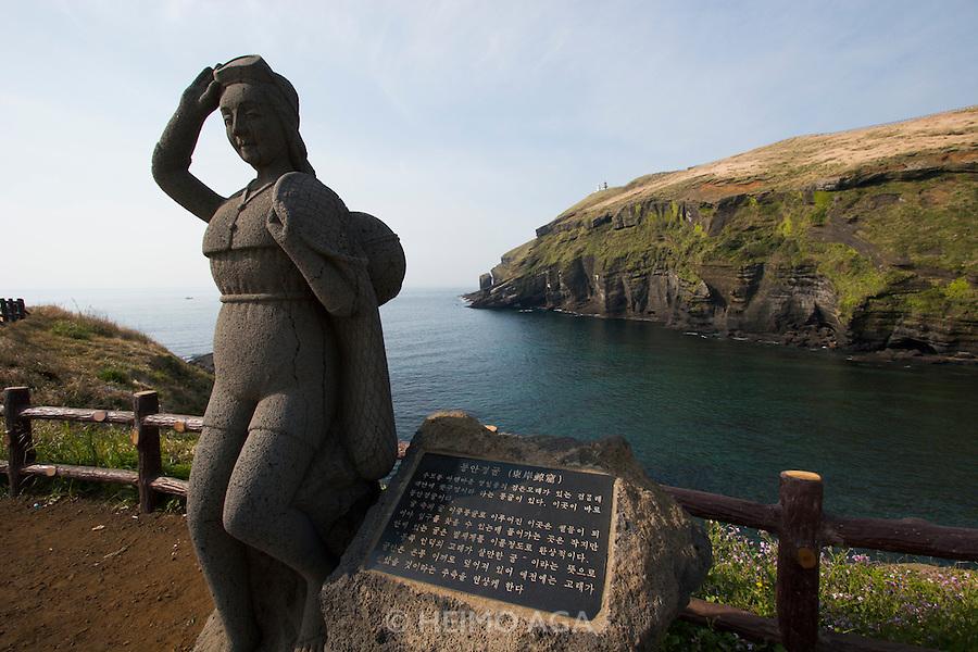 Udo, a small Island near Jeju-do. Haenyeo (female divers) statue.