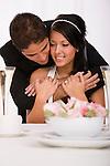 USA, Illinois, Metamora, Studio shot of bride and groom