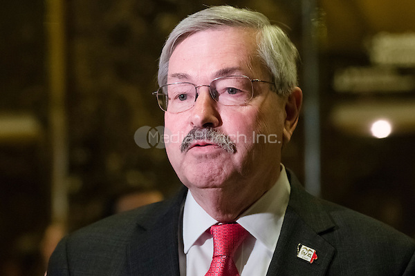 Following his meeting with United States President-elect Donald Trump, Governor Terry Branstad (Republican of Iowa) speaks to the press in the lobby of Trump Tower in New York, New York, USA on December 6, 2016. <br /> Credit: Albin Lohr-Jones / Pool via CNP /MediaPunch