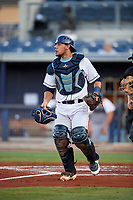Charlotte Stone Crabs catcher Rene Pinto (20) during a game against the Bradenton Marauders on August 6, 2018 at Charlotte Sports Park in Port Charlotte, Florida.  Charlotte defeated Bradenton 2-1.  (Mike Janes/Four Seam Images)