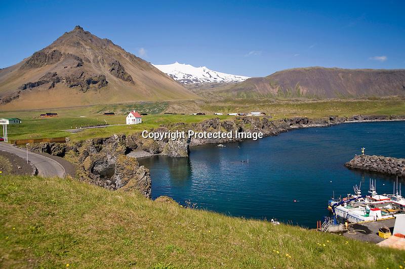 Snaefellsjokull Glacier and Stapafell Mountain from Arnarstapi Harbor in West Iceland