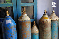 Oxygen tanks at arural hospital, Vietnam (Licence this image exclusively with Getty: http://www.gettyimages.com/detail/94433093 )