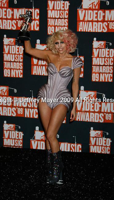 NEW YORK, New York - September 13: Lady GaGa poses in the press room at the 2009 MTV Video Music Awards at Radio City Music Hall on September 13, 2009 in New York City.
