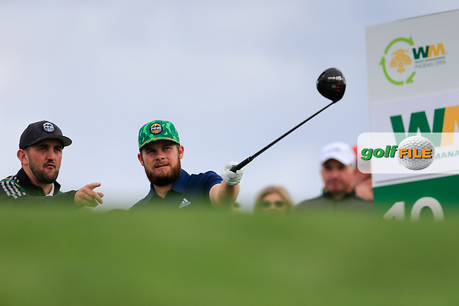 Tyrrell Hatton (ENG) on the 10th tee during the 3rd round of the Waste Management Phoenix Open, TPC Scottsdale, Scottsdale, Arisona, USA. 02/02/2019.<br /> Picture Fran Caffrey / Golffile.ie<br /> <br /> All photo usage must carry mandatory copyright credit (&copy; Golffile | Fran Caffrey)