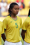 12 August 2008: Renata Costa (BRA).  The women's Olympic team of Brazil defeated the women's Olympic soccer team of Nigeria 3-1 at Beijing Workers' Stadium in Beijing, China in a Group F round-robin match in the Women's Olympic Football competition.