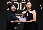"November 24, 2017, Tokyo, Japan - Japanese actress Tae Kimura (R) receives the trophy of ""Vogue Japan Women of the Year 2017"" award from Vogue Japan chief editor Mitsuko Watanabe in Tokyo on Friday, November 24, 2017.      (Photo by Yoshio Tsunoda/AFLO) LWX -ytd-"