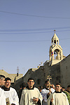 Bethlehem, the Latin Christmas Procession at Manger Square, the Church of the Nativity in the background
