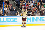 07 APR 2012:  Steven Whitney (21) of Boston College celebrates after scoring a goal against Ferris State University during the Division I Men's Ice Hockey Championship held at the Tampa Bay Times Forum in Tampa, FL.  Boston College defeated Ferris State 4-1 to win the national title.  Matt Marriott/NCAA Photos