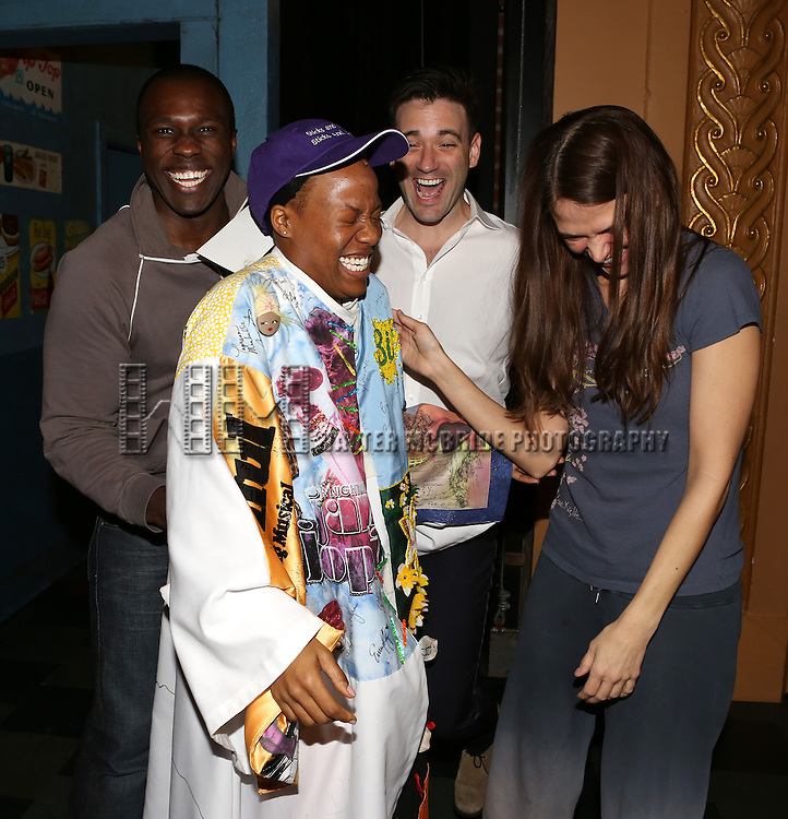 Anastacia McCleskey with Joshua Henry, Colin Donnell and Sutton Foster during the Opening Night Broadway AEA Gypsy Robe Ceremony honoring Anastacia McCleskey for 'Violet'  at The American Airlines Theatre on April 20, 2014 in New York City.