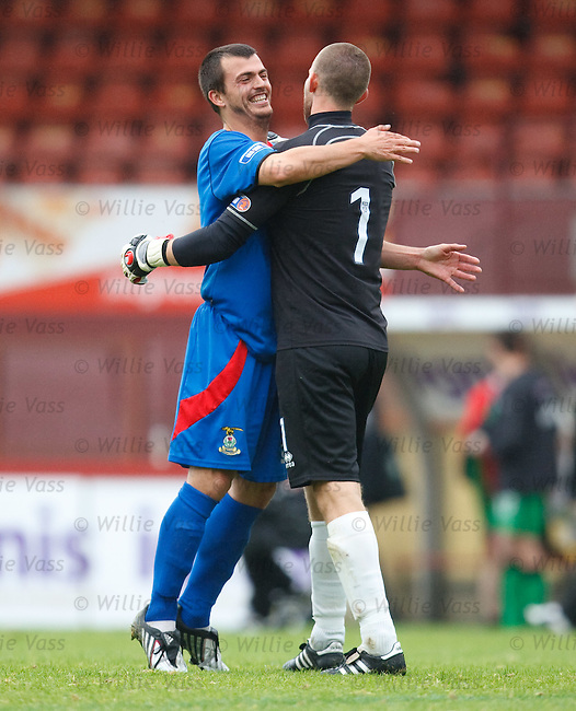 Russell Duncan hugs keeper Ryan Esson