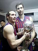 FC Barcelona Regal's Marcelinho Huertas (l) and Ante Tomic celebrate the victory in the Spanish Basketball King's Cup Final match.February 07,2013. (ALTERPHOTOS/Acero)