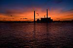 Salem, Massachusetts, coal buring power plant at sunset.