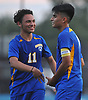 Juan Gonzalez #7 of Roosevelt, right, gets congratulated by Bryan Jimenez #11 after their team's 4-2 win over host Roslyn High School in a Nassau County varsity boys soccer game on Thursday, Oct. 5, 2017. Trailing 2-1 in the second half, Gonzalez scored the tying and go-ahead goals to lead the Rough Riders to the victory.
