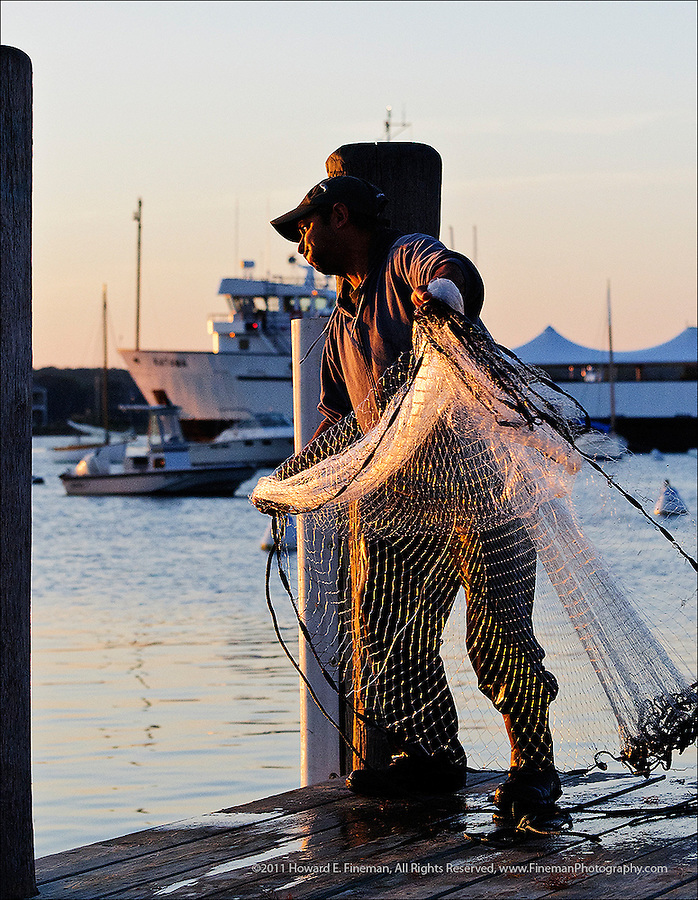 Cast Net Fishing at Owen Park Beach, Vineyard Haven
