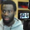 New York Giants No. 20 Prince Amukamara appears in focus on an LCD screen as he speaks to the media inside the locker room of Quest Diagnostics Training Center in East Rutherford, NJ on Monday, Nov. 16, 2015.<br /> <br /> James Escher