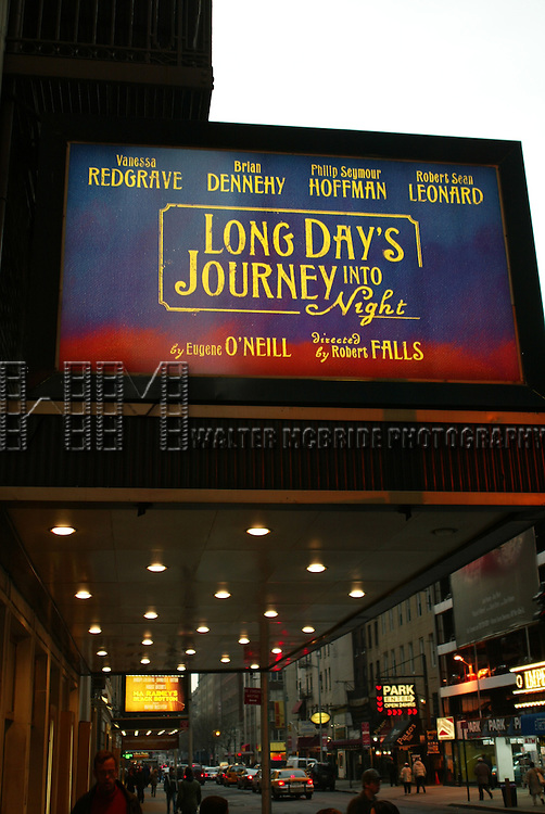 Long Days Journey Into Night by Eugene O'Neill.( Theatre Marquee ).Starring Vanessa Redgrave, Brian Dennehy, Phillip.Seymour Hoffman and Robert Sean Leonard.Directed by Robert Falls.Plymouth Theatre, Broadway, New York City..March 2003.Credit All Uses.© Walter McBride /  , USA