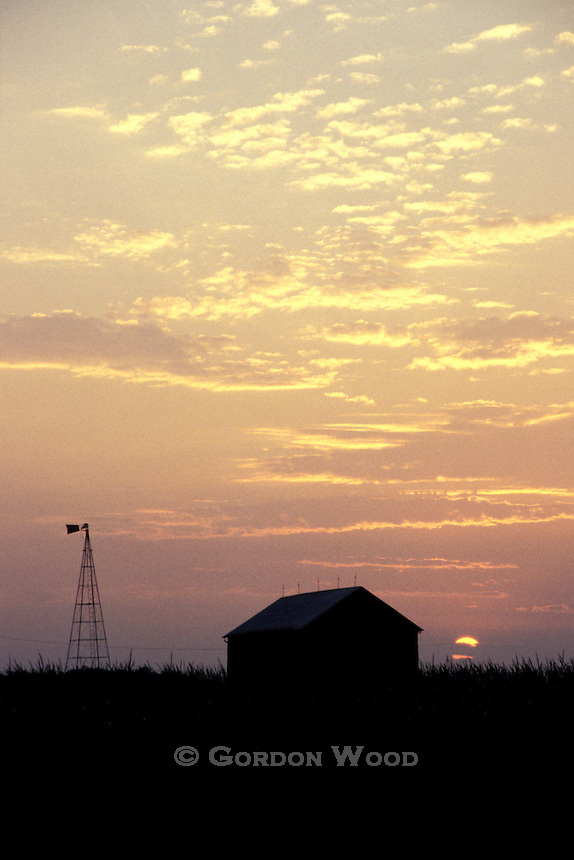 Summer Sunset with Barn Silhouette