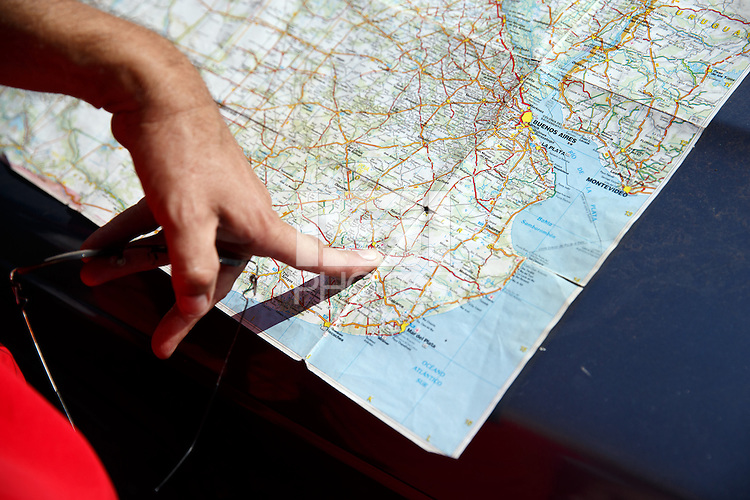 An Argentinian fan shows us on the map how far he drove from to get to Rio