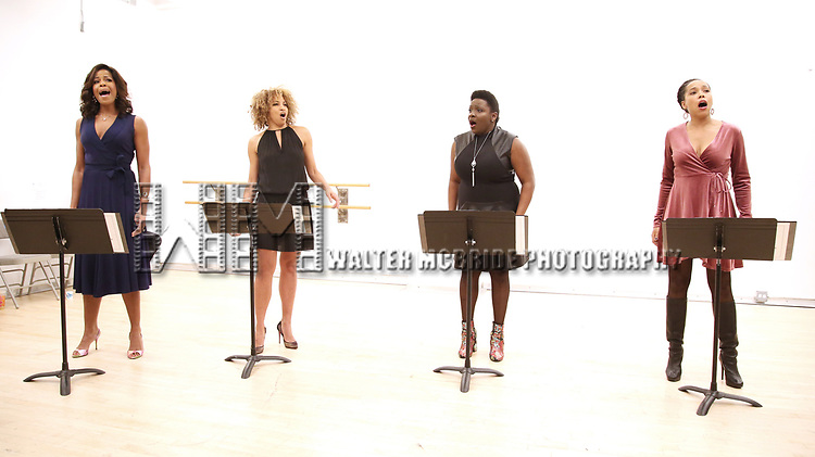 "Nicole Henry, Lana Gordon, Darlene Hope and Dionne Figgins During the Open Rehearsal for the Miami New Drama's World Premiere Musical  ""A Wonderful World"" at the Ripley-Grier Studios on January 26, 2020 in New York City."