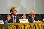 Governor Howard B. Dean III (left) and Edward J. Rollins (right) are panelists at ?Change in the White House? ? on April 19, 2012, at Hofstra University, Hempstead, New York, USA. Hofstra's event was part of ?Debate 2012? which leads up to the Presidential Debate Hofstra is hosting on October 15, 2012.
