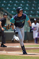 Nolan Jones (10) of the Lynchburg Hillcats hustles down the first base line against the Winston-Salem Rayados at BB&T Ballpark on June 23, 2019 in Winston-Salem, North Carolina. The Hillcats defeated the Rayados 12-9 in 11 innings. (Brian Westerholt/Four Seam Images)