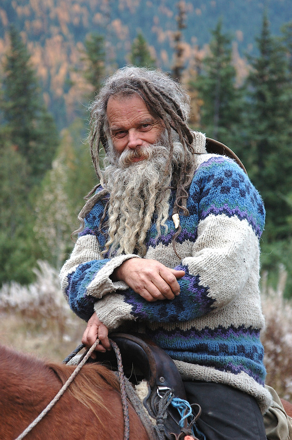 Mountain Man and Horse Rancher Mick Grabowsky.  'Rainbow's End Ranch' on Glacier Creek, north of Kootenay Lake, BC.