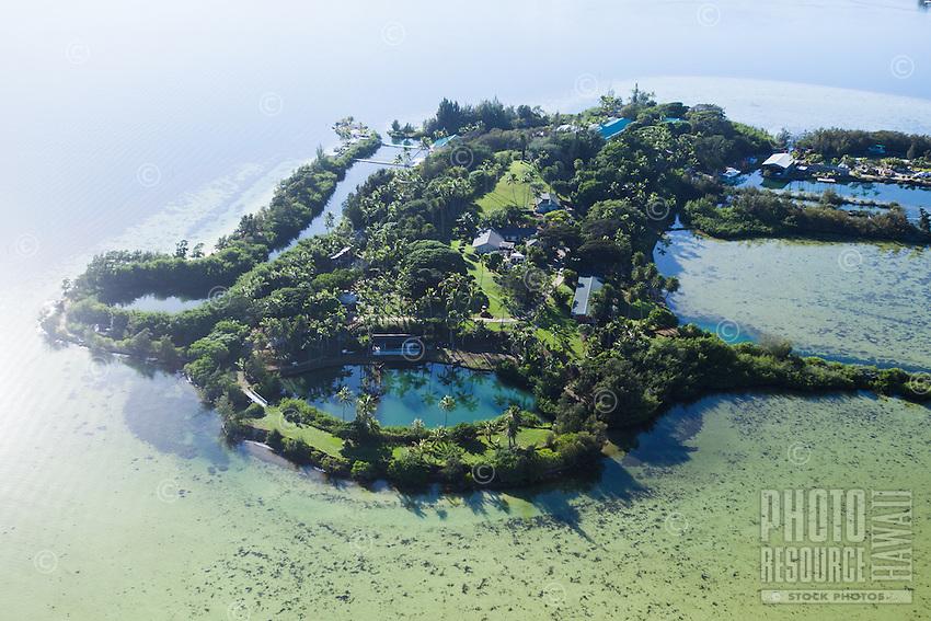 An aerial perspective of Coconut Island, or Moku o Lo'e, Windward O'ahu.