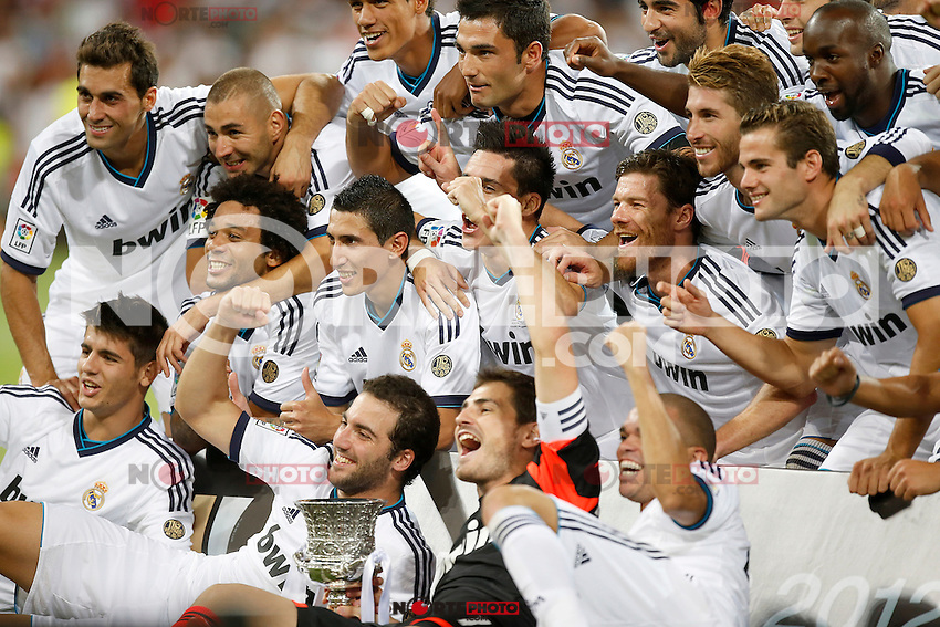 Real Madrid's players celebrate with trophy after Super Cup match. August 29, 2012. (ALTERPHOTOS/Alvaro Hernandez). /NortePhoto.com<br /> <br /> **CREDITO*OBLIGATORIO** <br /> *No*Venta*A*Terceros*<br /> *No*Sale*So*third*<br /> *** No*Se*Permite*Hacer*Archivo**<br /> *No*Sale*So*third*
