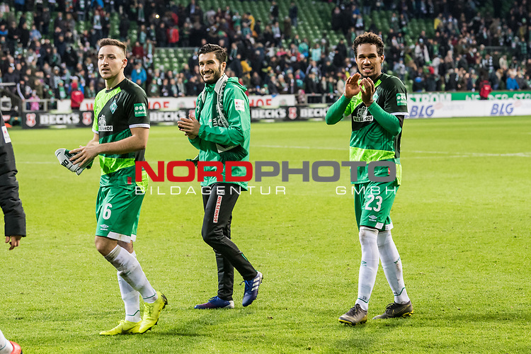 10.02.2019, Weserstadion, Bremen, GER, 1.FBL, Werder Bremen vs FC Augsburg<br /> <br /> DFL REGULATIONS PROHIBIT ANY USE OF PHOTOGRAPHS AS IMAGE SEQUENCES AND/OR QUASI-VIDEO.<br /> <br /> im Bild / picture shows<br /> Kevin Möhwald / Moehwald (Werder Bremen #06), Nuri Sahin (Werder Bremen #17), Theodor Gebre Selassie (Werder Bremen #23) nach Spielende, <br /> <br /> Foto © nordphoto / Ewert