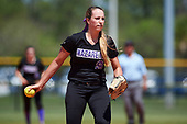 Nazareth College Golden Flyers Rachel Mertens (9) delivers a pitch during a game against the Edgewood Eagles on March 12, 2017 at North Collier Park in Fort Myers, Florida.  (Mike Janes/Four Seam Images)