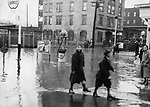 A view of Green and Riverside Streets in Waterbury during the flood of 1938.