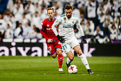 10th January 2018, Santiago Bernabeu, Madrid, Spain; Copa del Rey football, round of 16, 2nd leg, Real Madrid versus Numancia; Borja Mayoral (Real Madrid) drives forward on the ball