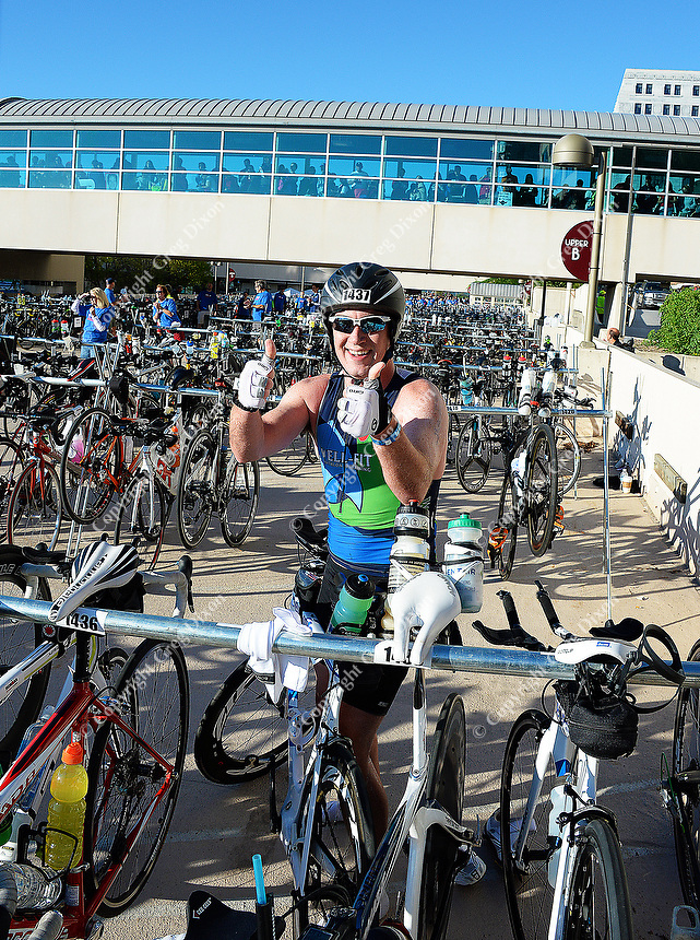 Chicago's Matt Wood gives the thumbs up before starting the bike leg of the 2015 Ironman competition on Sunday, September 13, 2015 in Madison, Wisconsin