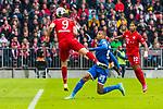 05.10.2019, Allianz Arena, Muenchen, GER, 1.FBL,  FC Bayern Muenchen vs. TSG 1899 Hoffenheim, DFL regulations prohibit any use of photographs as image sequences and/or quasi-video, im Bild Torschuss zum 1-1 durch Robert Lewandowski (FCB #9) mit Kevin Akpoguma (Hoffenheim #25) Serge Gnabry (FCB #22) <br /> <br />  Foto © nordphoto / Straubmeier